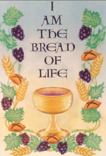 I am the bread of life. First Holy Communion card